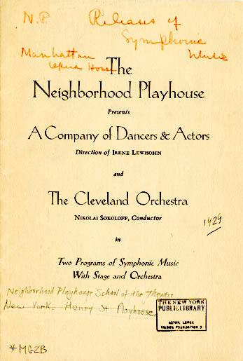 Excerpts from program for performance at the Neighborhood Playhouse