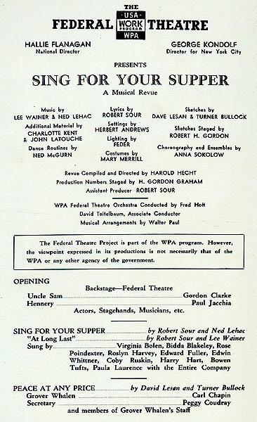 "Program for the Federal Theatre Project's ""Sing for Your Supper"""