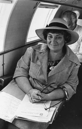 Abzug en route upstate to announce her candidacy for the U.S. Senate