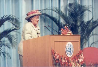 Abzug Addressing the Plenary Meeting of the Fourth World Conference on Women in Beijing