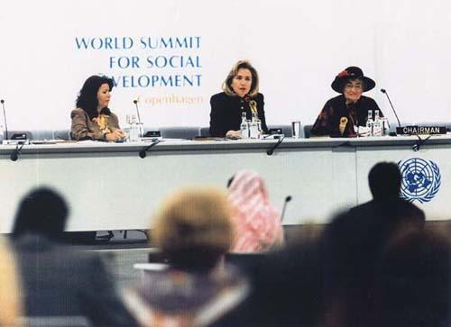 Abzug at the World Summit for Social Development in Copenhagen with Hilary Clinton