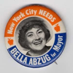 Bella Abzug's Mayorial Campaign Pin