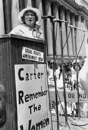 Abzug at a New York City Rally