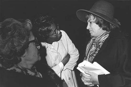 Bella Abzug Speaking with Constituents, 1976