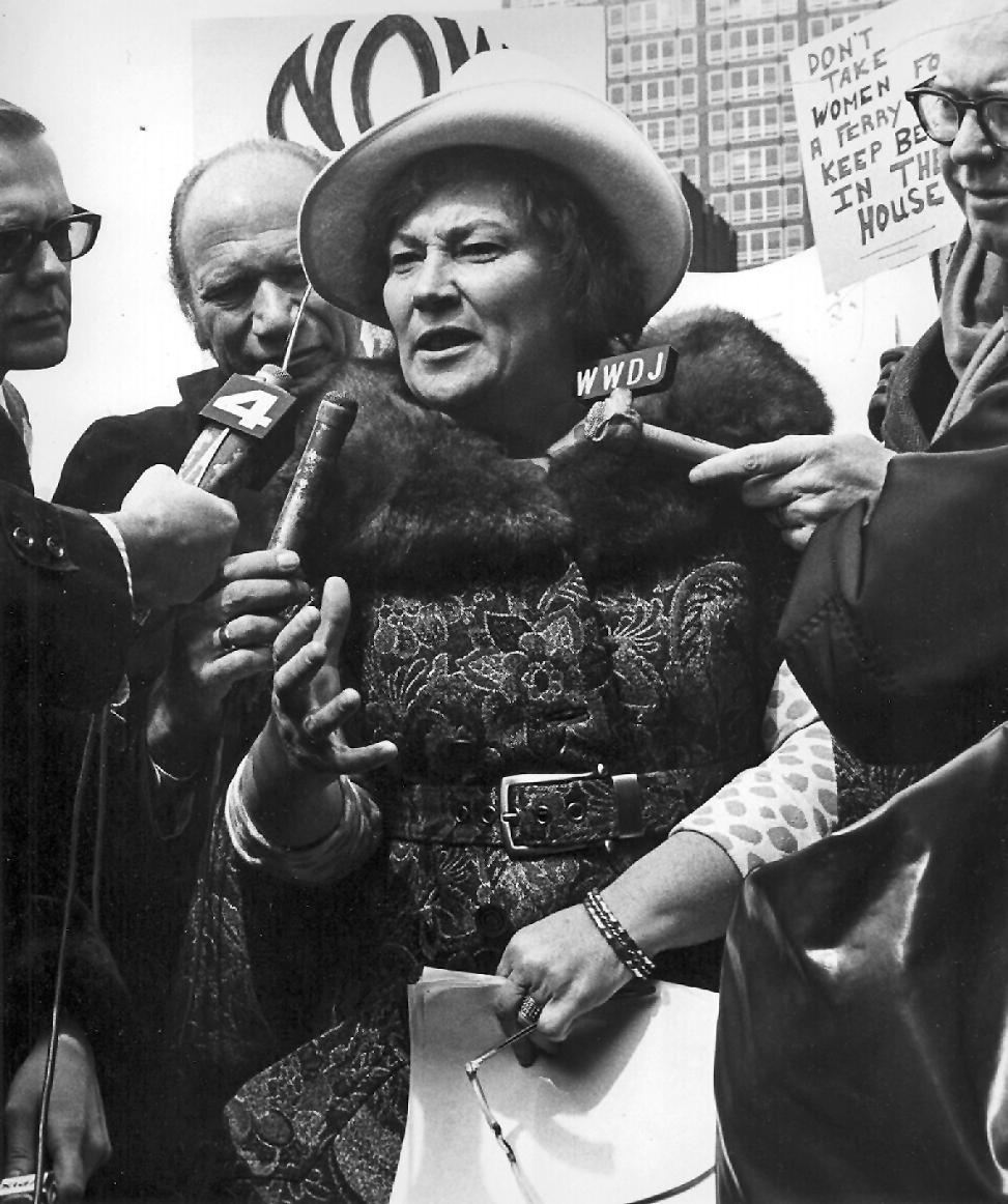 Bella Abzug at a Press Conference in Battery Park, New York, 1972.