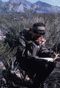 Myerhoff Working on Notes During the Peyote Hunt