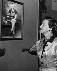 Rosenfeld with her Portrait at Canada's Sports Hall of Fame