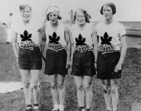 The Olympic Relay Team Just After Winning the Gold - (from left to right) Jane Bell, Myrtle Cook, Ethel Smith, Bobbie Rosenfeld