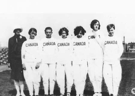 """The Matchless Six""(from left to right) chaperone Marie Parkes, Rosenfeld, Jean THompson, Ethel Smoth, Myrtle Cook, Ethel Catherwood, Jane Bell"
