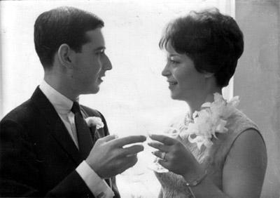 Barbara Dobkin and her Husband at their Wedding, 1965