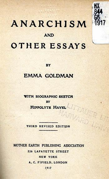 "Cover page and table of contents of one of the many editions of Goldman's ""Anarchism and Other Essays"""