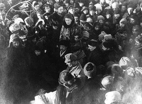 Emma Goldman at the Funeral of Peter Kropotkin, February 13, 1921