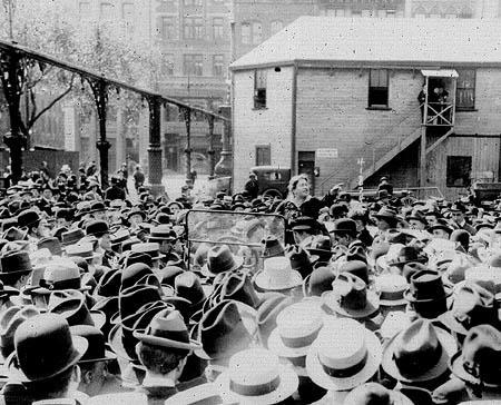 Goldman speaking to a crowd of garment workers about birth control in Union Square, New York