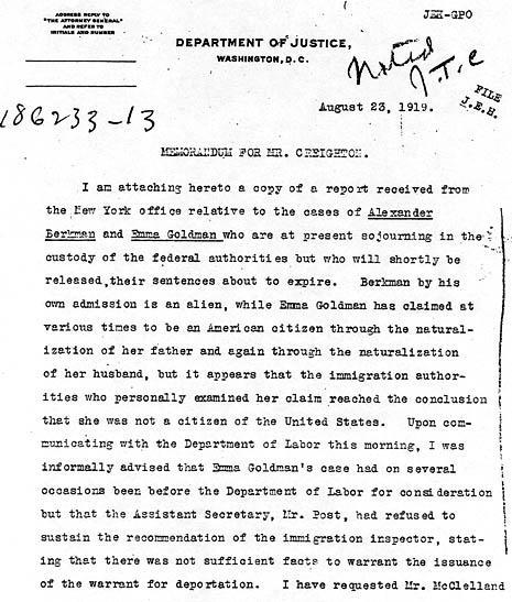 Memo from the young J. Edgar Hoover regarding Goldman and Alexander Berkman