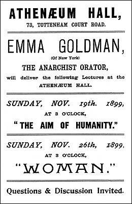 Handbill advertising lectures by Goldman in London