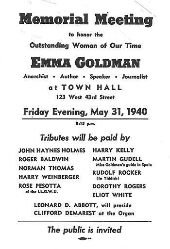 Poster for Memorial Meeting to honor Emma Goldman
