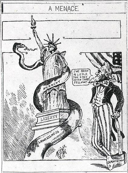 """Menace Subject: Free Speech"" Cartoon from the ""San Diego Union"" Expressing American Hostility to the Anarchist Movement, May 18, 1912"
