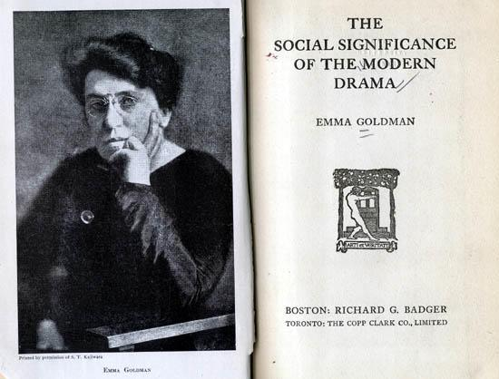 "Cover page of Goldman's ""The Social Significance of the Modern Drama"""