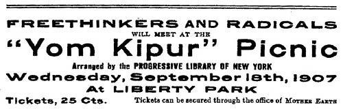 "Advertisement for ""'Yom Kipur Picnic"" Organized by Emma Goldman and her Colleagues"