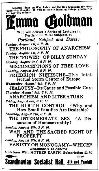 Emma Goldman Lectures in Portland, Oregon, August 1, 1915