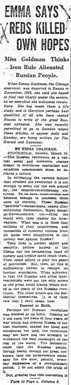 Article by Goldman about her disillusionment with the Soviet Union
