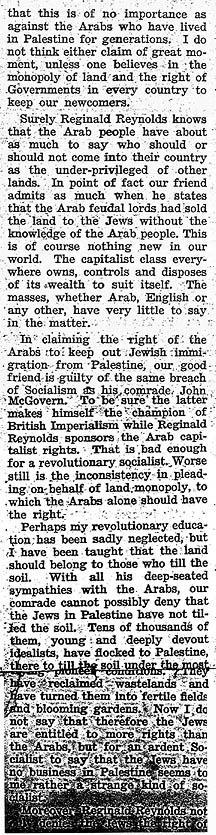 Article by Goldman expressing sympathy for the Jews in Palestine