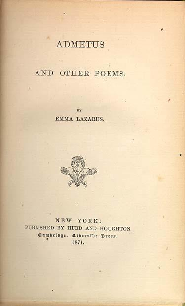 "Cover page for ""Admetus and Other Poems"""