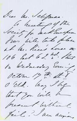 Letter to E.R.A. Seligman from Emma Lazarus
