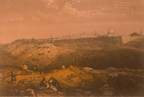 """""""First View of Jerusalem from the Mount of Olives Coming from Bethany,"""" 1854"""