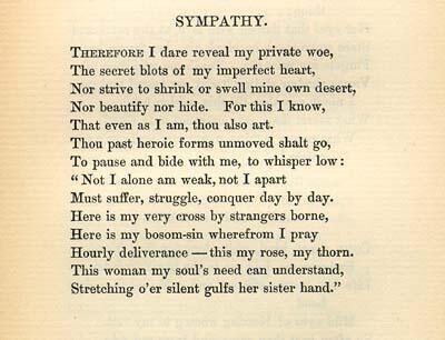 """""""Sympathy,"""" by Emma Lazarus, 1889"""