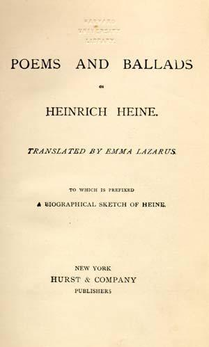 Title page for Poems and Ballads of Heinrich Heine