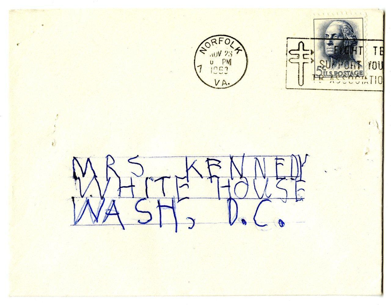 Envelope Addressed to Jacqueline Kennedy, November 23, 1963