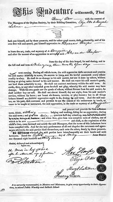 Contract of Indenture, Henry Barr