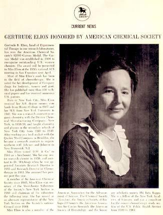 Article from Burroughs Wellcome Newsletter Announcing Gertrude Elion's Receipt of the American Chemical Society's Garvan Medal, 1968