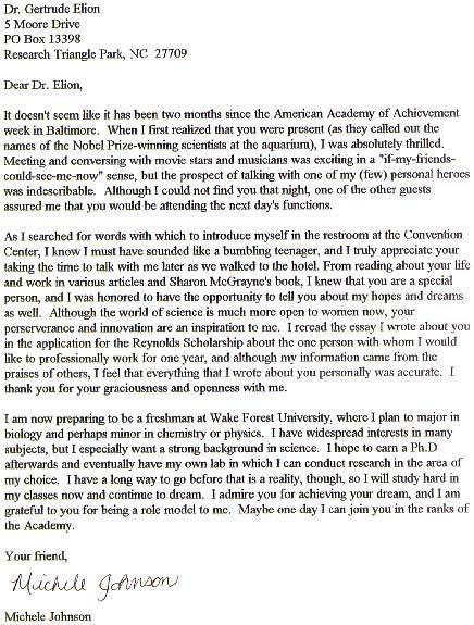 Letter of thanks to Gertrude Elion
