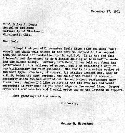 Letter from George Hitchings to Milan Logan