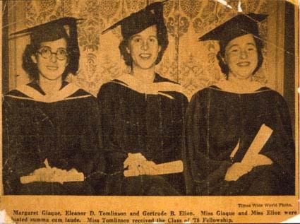 Newspaper clipping announcing Gertrude Elion's college graduation