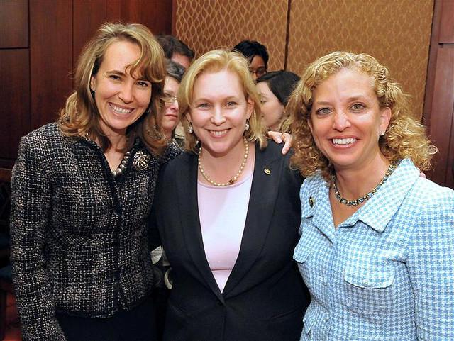 Representatives Gabrielle Giffords (left), Kirsten Gillibrand (center), and Debbie Wasserman Schultz (right)
