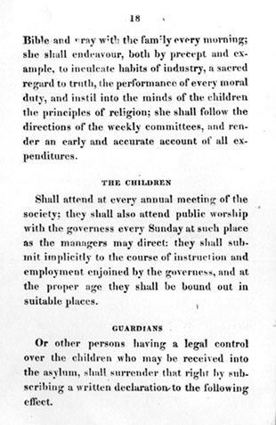 Rules and Regulations, Philadelphia Orphan Society