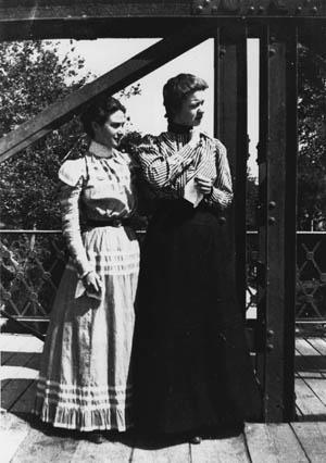 Gertrude Weil with a friend at Smith College, Northampton, MA