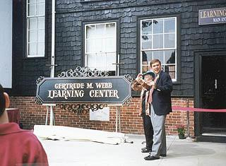 Gertrude Webb at dedication of Gertrude M. Webb Learning Center at Curry College, September 13, 1997