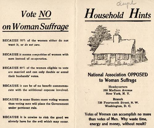 Pamphlet distributed by the National Association Opposed to Woman Suffrage