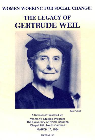 Program from Symposium on Gertrude Weil, University of North Carolina, Chapel Hill