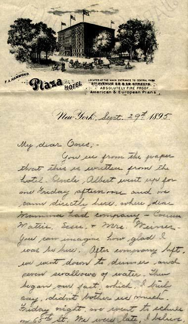 Letter from Gertrude Weil to her family, September 29, 1895