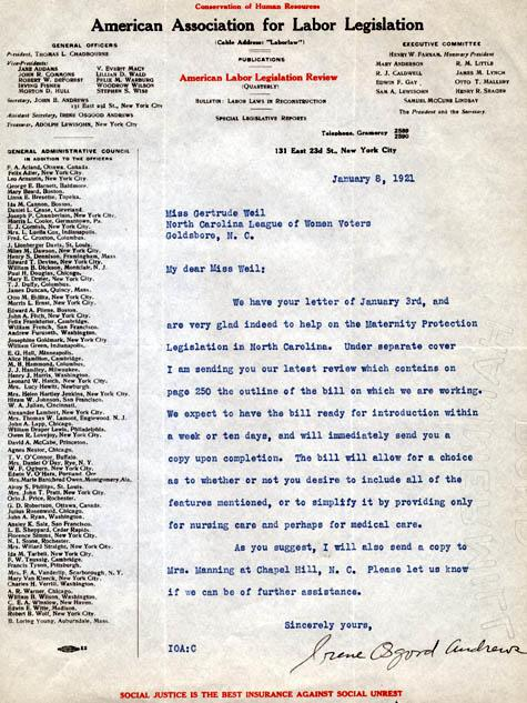 Letter to Weil from Irene Osgood Andrews of the American Association for Labor Legislation