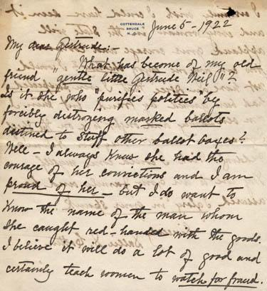 Letter from Sallie Southall Cotten to Gertrude Weil