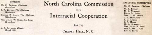 Letter from W.C. Jackson, Chair, to new members of the North Carolina Commission on Interracial Cooperation