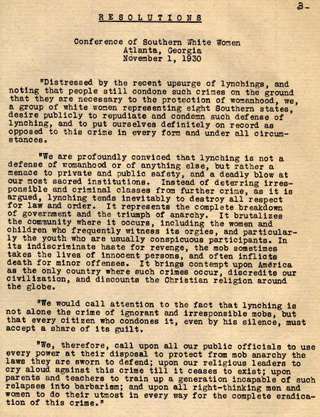 Excerpt from Program of the Conference of the State Committee of Women for the Prevention of Lynching