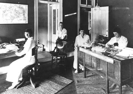 Weil (far left) and colleagues in the office of the North Carolina Equal Suffrage League