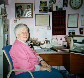 Gertrude Webb in her office at the Webb International Center for Dyslexia, January 15, 2002